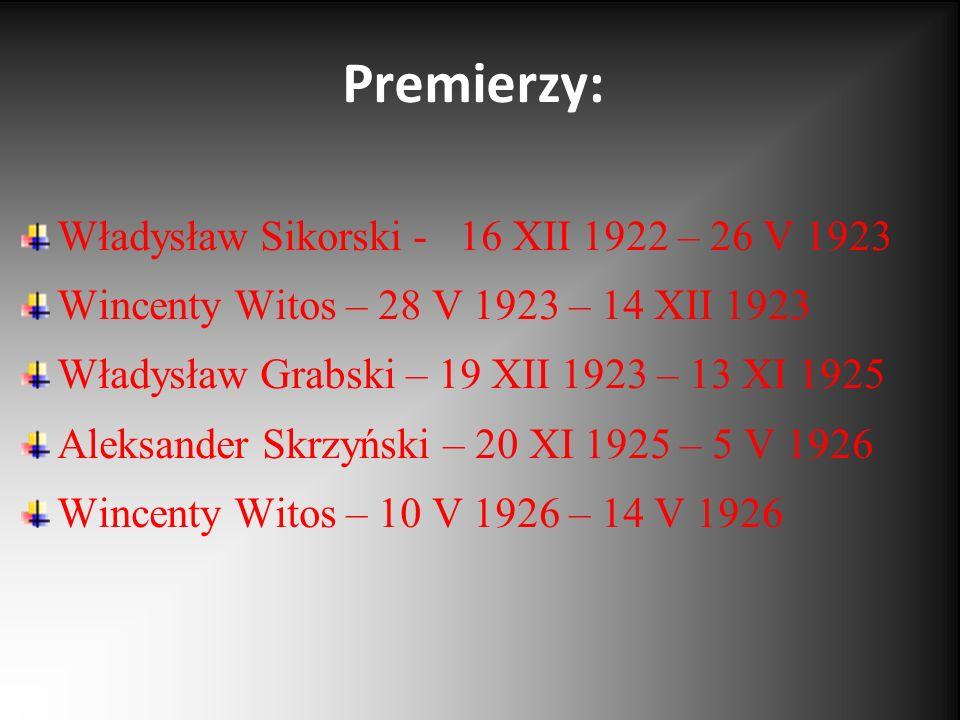 Premierzy: Władysław Sikorski - 16 XII 1922 – 26 V 1923