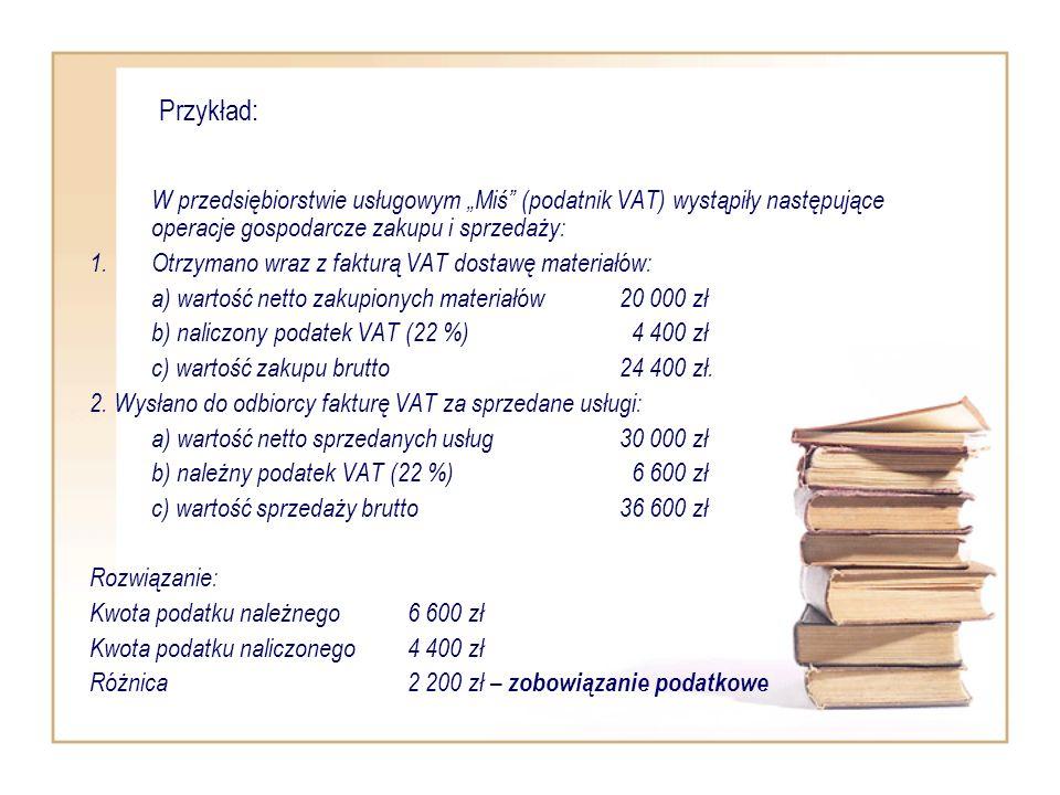"""Przykład: W przedsiębiorstwie usługowym """"Miś (podatnik VAT) wystąpiły następujące operacje gospodarcze zakupu i sprzedaży:"""