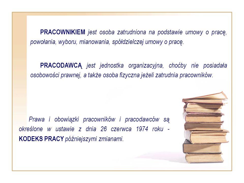 PRACOWNIKIEM jest osoba zatrudniona na podstawie umowy o pracę, powołania, wyboru, mianowania, spółdzielczej umowy o pracę.