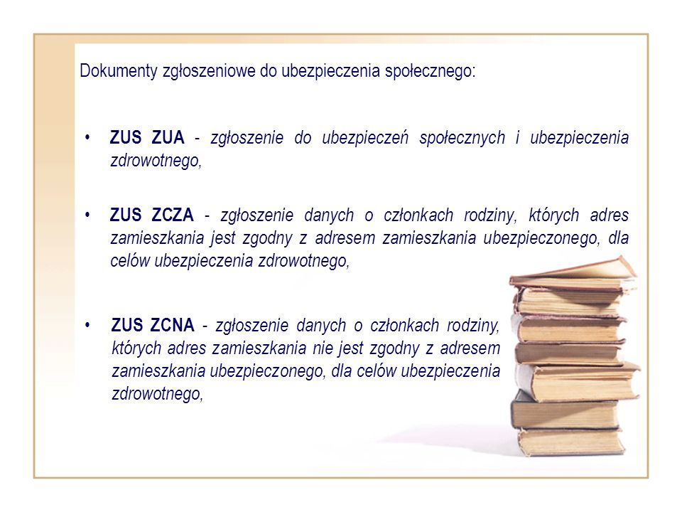 Dokumenty zgłoszeniowe do ubezpieczenia społecznego:
