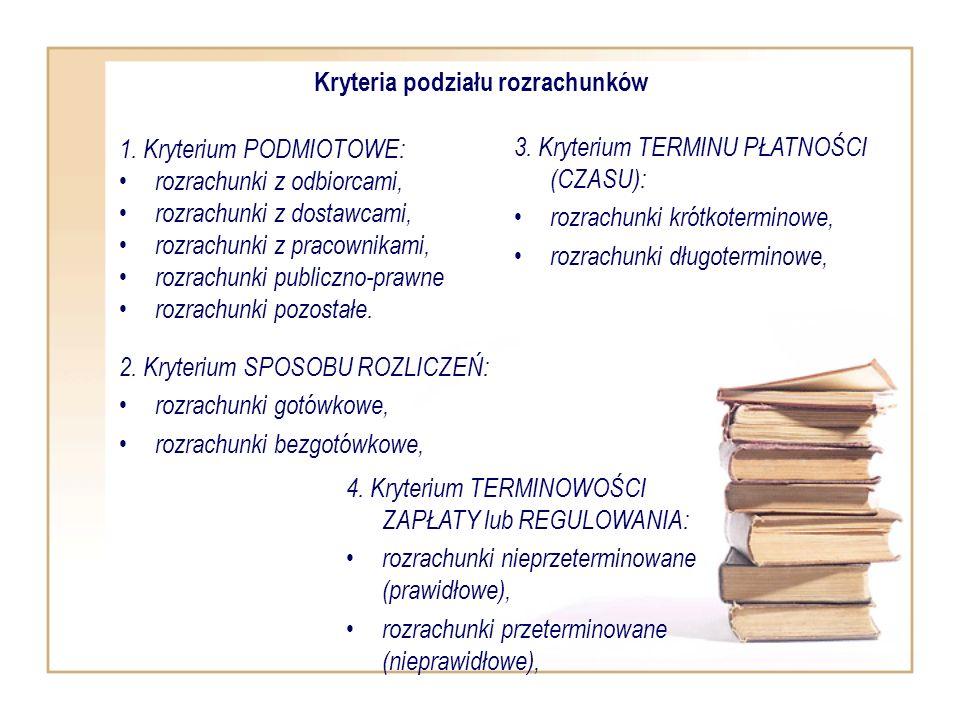 Kryteria podziału rozrachunków