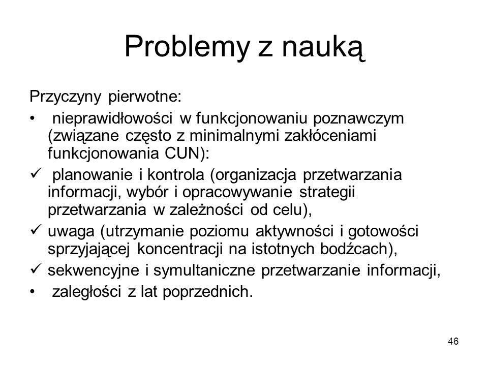 Problemy z nauką Przyczyny pierwotne: