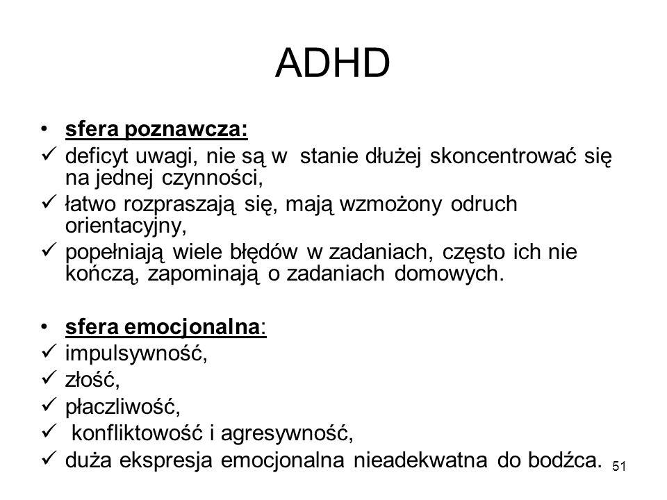 ADHD sfera poznawcza: deficyt uwagi, nie są w stanie dłużej skoncentrować się na jednej czynności,