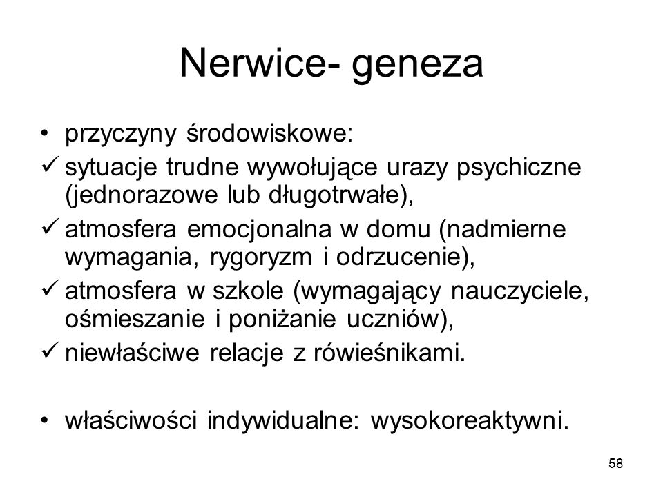 Nerwice- geneza przyczyny środowiskowe:
