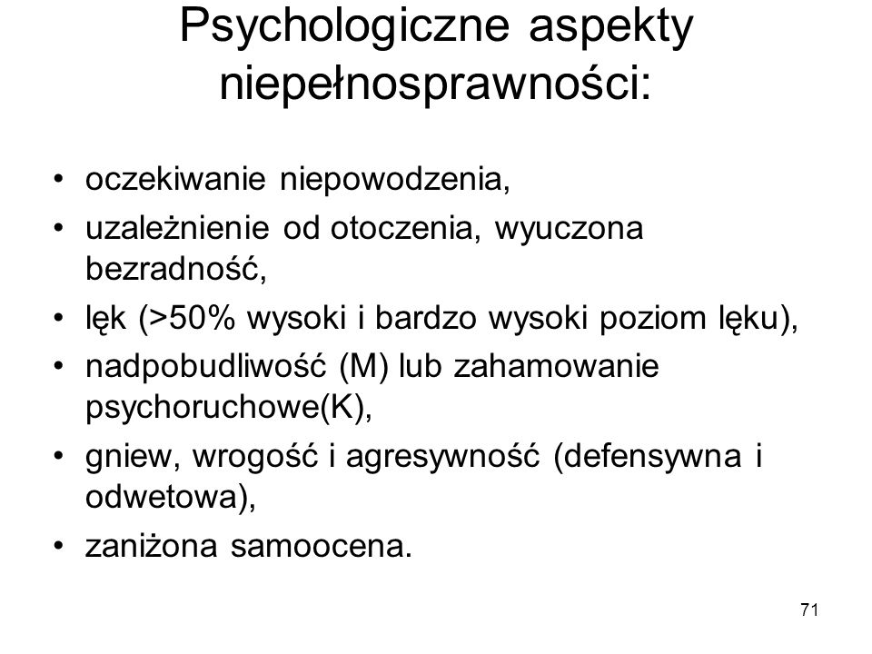 Psychologiczne aspekty niepełnosprawności:
