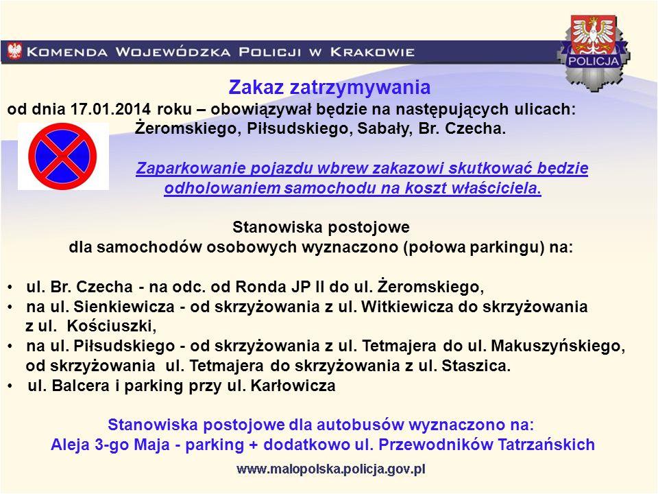 od dnia 17.01.2014 roku – obowiązywał będzie na następujących ulicach: