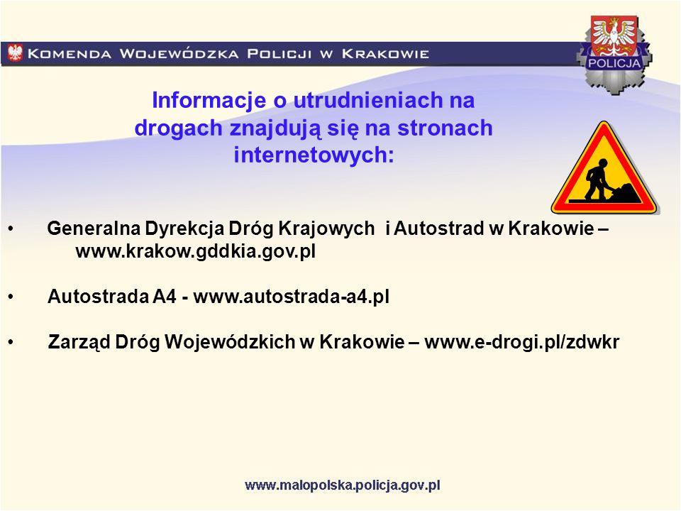 Informacje o utrudnieniach na drogach znajdują się na stronach internetowych: