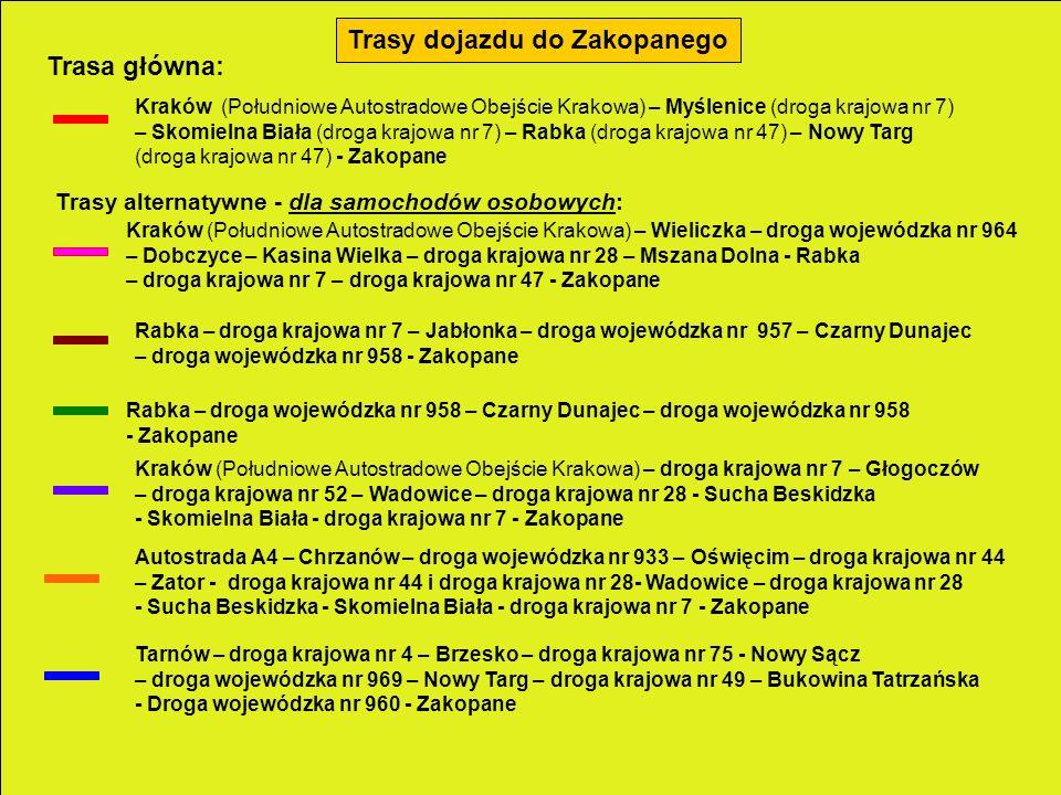 Trasy dojazdu do Zakopanego Trasa główna: