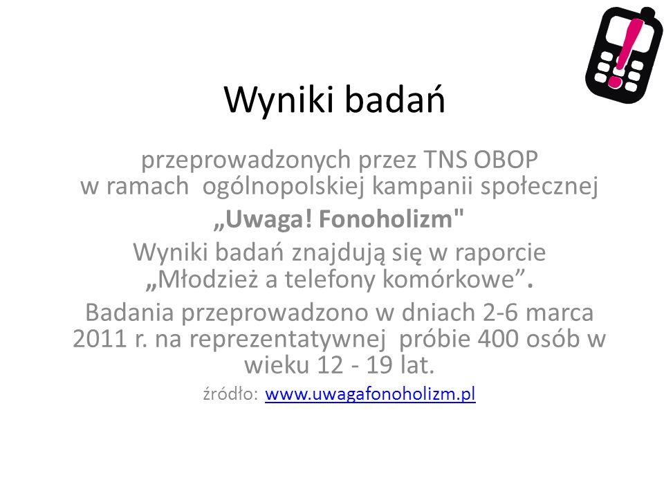 """Wyniki badań przeprowadzonych przez TNS OBOP w ramach ogólnopolskiej kampanii społecznej. """"Uwaga! Fonoholizm"""