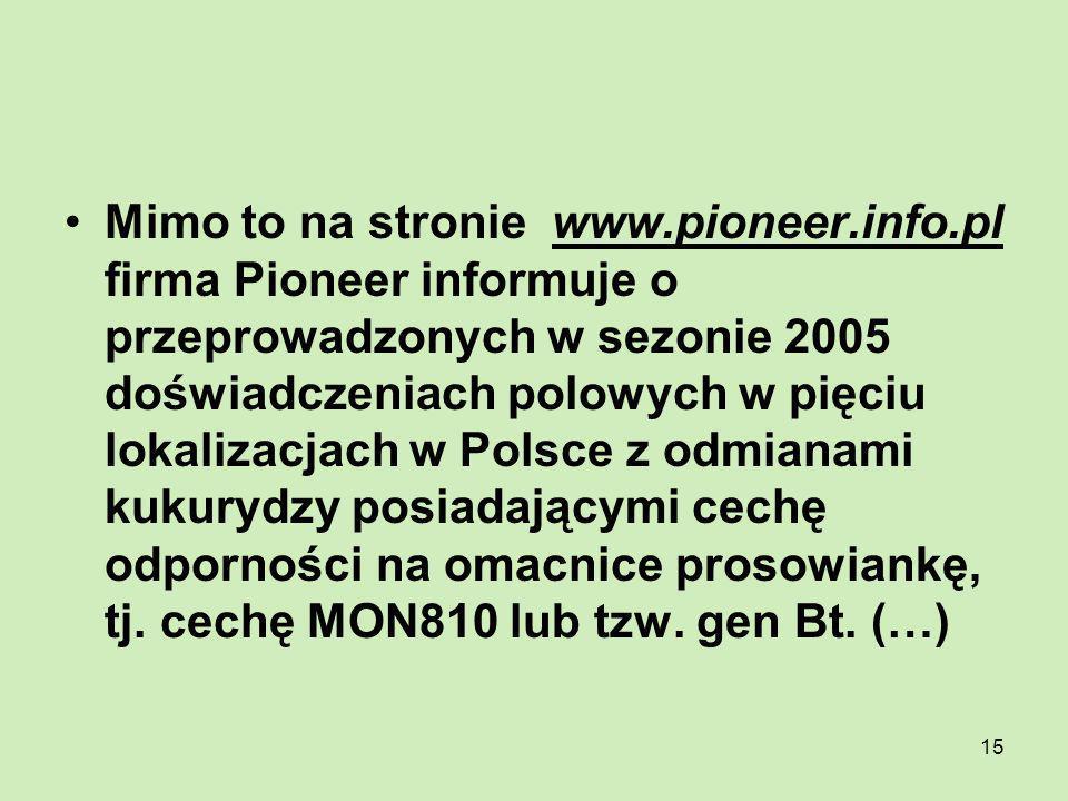 Mimo to na stronie www. pioneer. info