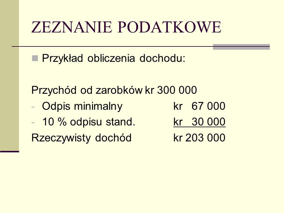 ZEZNANIE PODATKOWE Przykład obliczenia dochodu: