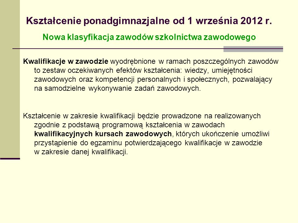 Kształcenie ponadgimnazjalne od 1 września 2012 r