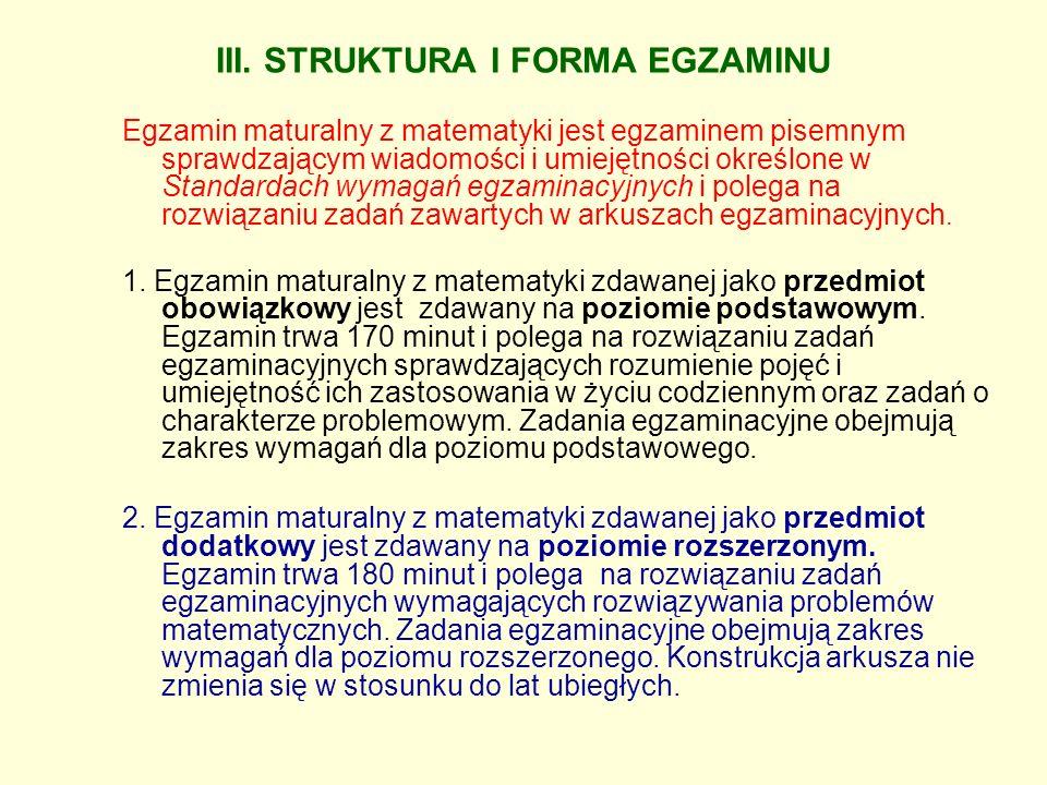 III. STRUKTURA I FORMA EGZAMINU