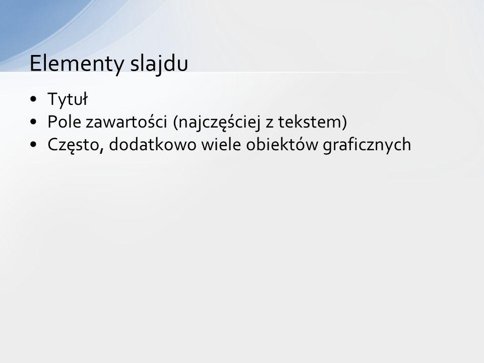 Elementy slajdu Tytuł Pole zawartości (najczęściej z tekstem)
