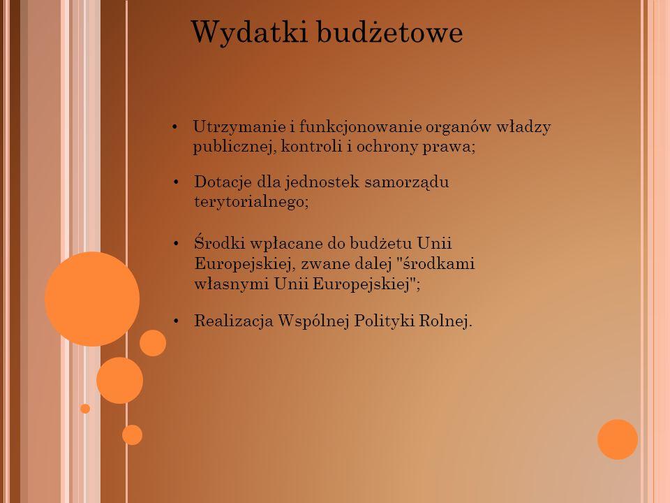 Wydatki budżetowe Utrzymanie i funkcjonowanie organów władzy publicznej, kontroli i ochrony prawa; Dotacje dla jednostek samorządu terytorialnego;
