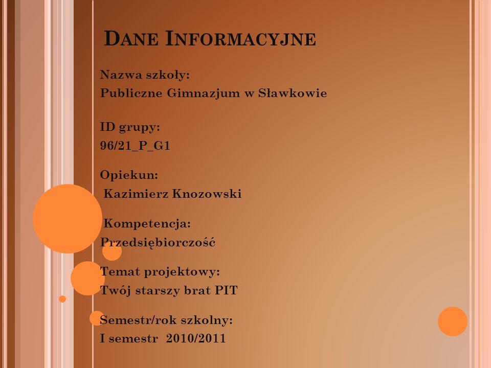 Dane Informacyjne Nazwa szkoły: Publiczne Gimnazjum w Sławkowie