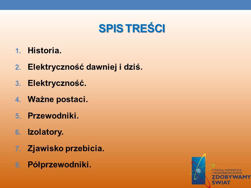 SPIS TREŚCI Historia. Elektryczność dawniej i dziś. Elektryczność.