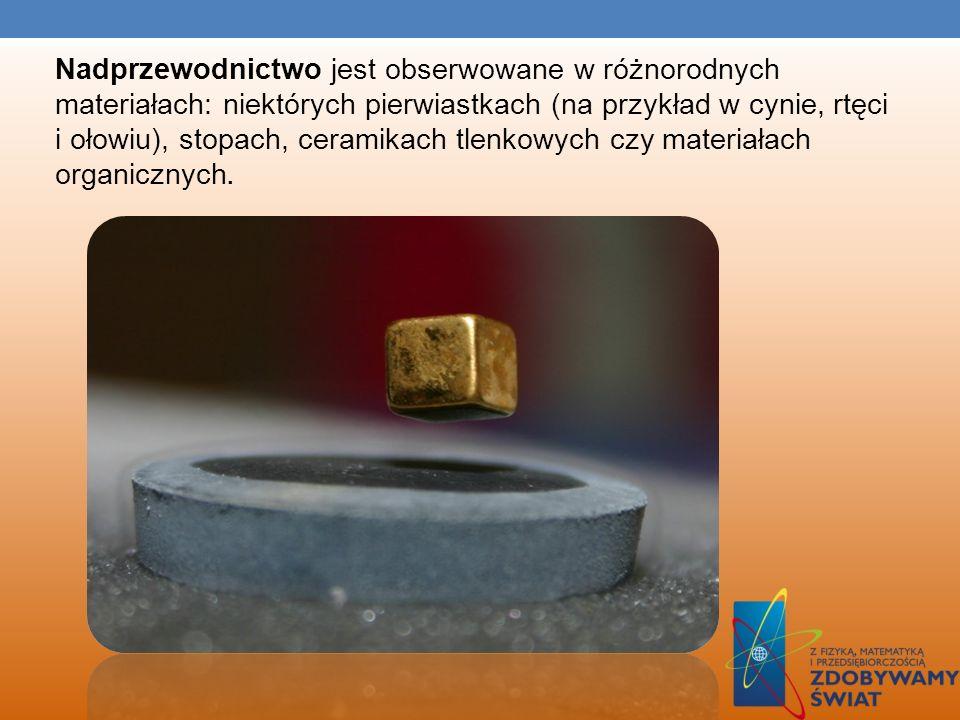 Nadprzewodnictwo jest obserwowane w różnorodnych materiałach: niektórych pierwiastkach (na przykład w cynie, rtęci