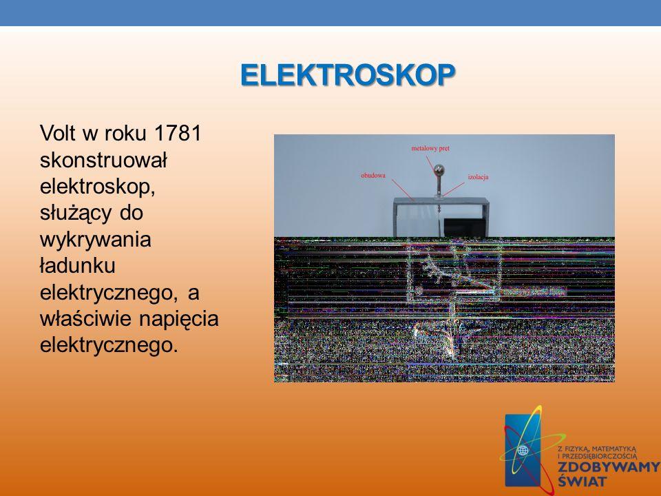 ElektroskopVolt w roku 1781 skonstruował elektroskop, służący do wykrywania ładunku elektrycznego, a właściwie napięcia elektrycznego.