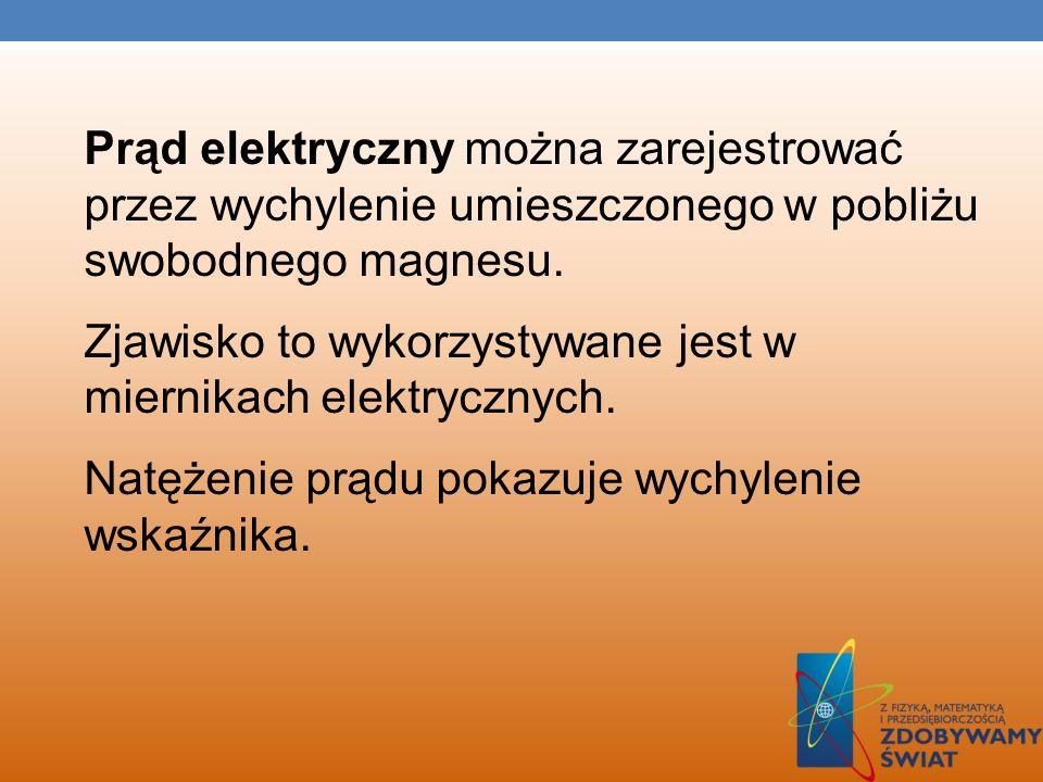Prąd elektryczny można zarejestrować przez wychylenie umieszczonego w pobliżu swobodnego magnesu.