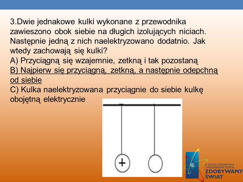 3.Dwie jednakowe kulki wykonane z przewodnika zawieszono obok siebie na długich izolujących niciach.