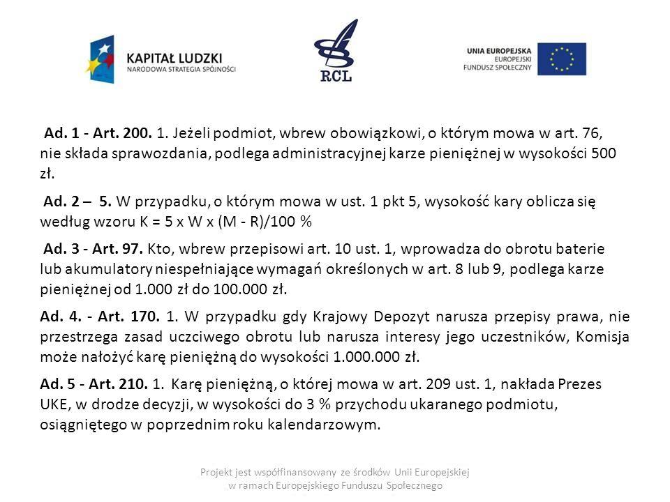 Ad. 1 - Art. 200. 1. Jeżeli podmiot, wbrew obowiązkowi, o którym mowa w art. 76, nie składa sprawozdania, podlega administracyjnej karze pieniężnej w wysokości 500 zł.
