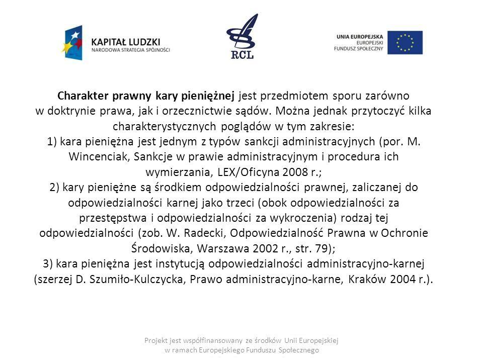 Charakter prawny kary pieniężnej jest przedmiotem sporu zarówno w doktrynie prawa, jak i orzecznictwie sądów. Można jednak przytoczyć kilka charakterystycznych poglądów w tym zakresie: 1) kara pieniężna jest jednym z typów sankcji administracyjnych (por. M. Wincenciak, Sankcje w prawie administracyjnym i procedura ich wymierzania, LEX/Oficyna 2008 r.; 2) kary pieniężne są środkiem odpowiedzialności prawnej, zaliczanej do odpowiedzialności karnej jako trzeci (obok odpowiedzialności za przestępstwa i odpowiedzialności za wykroczenia) rodzaj tej odpowiedzialności (zob. W. Radecki, Odpowiedzialność Prawna w Ochronie Środowiska, Warszawa 2002 r., str. 79); 3) kara pieniężna jest instytucją odpowiedzialności administracyjno-karnej (szerzej D. Szumiło-Kulczycka, Prawo administracyjno-karne, Kraków 2004 r.).