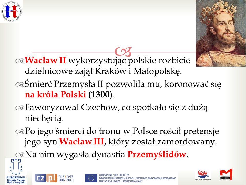 Wacław II wykorzystując polskie rozbicie dzielnicowe zajął Kraków i Małopolskę.