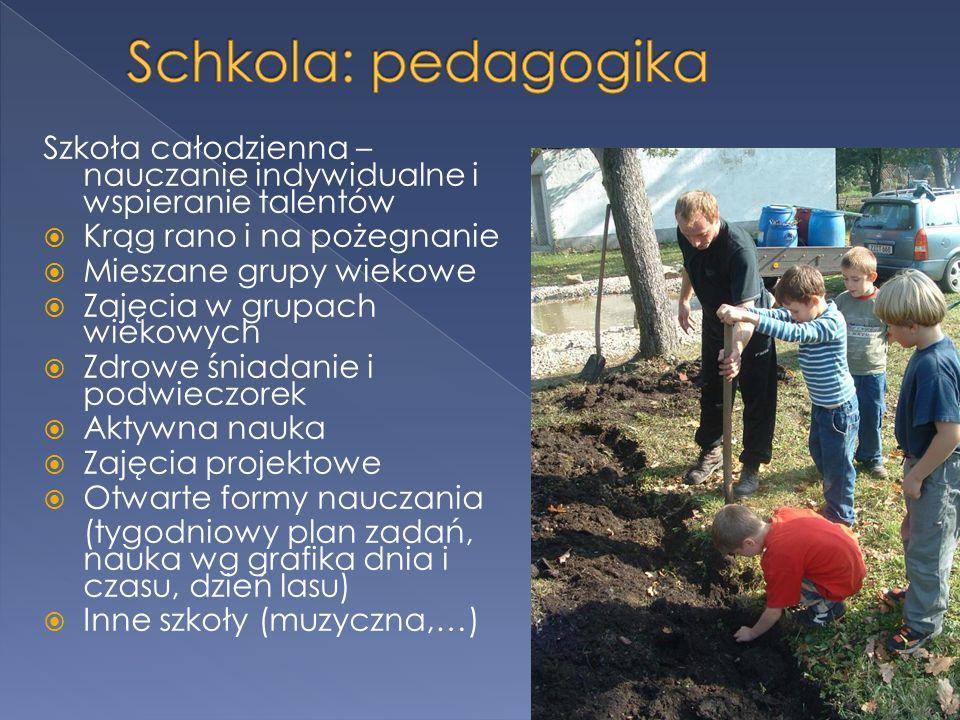 Schkola: pedagogikaSzkoła całodzienna – nauczanie indywidualne i wspieranie talentów. Krąg rano i na pożegnanie.