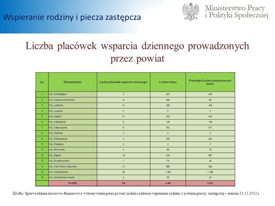 Liczba placówek wsparcia dziennego prowadzonych przez powiat