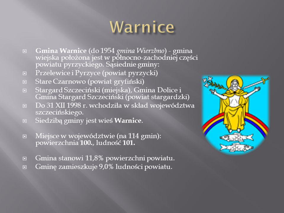 Warnice Gmina Warnice (do 1954 gmina Wierzbno) - gmina wiejska położona jest w północno-zachodniej części powiatu pyrzyckiego. Sąsiednie gminy: