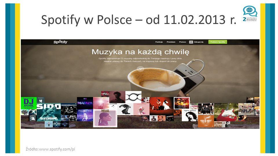 Spotify w Polsce – od 11.02.2013 r. Źródło: www.spotify.com/pl