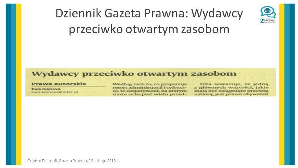 Dziennik Gazeta Prawna: Wydawcy przeciwko otwartym zasobom
