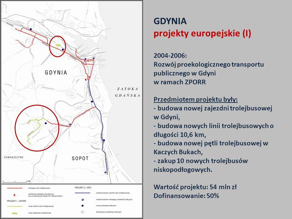 GDYNIA projekty europejskie (I) 2004-2006: Rozwój proekologicznego transportu publicznego w Gdyni w ramach ZPORR Przedmiotem projektu były: - budowa nowej zajezdni trolejbusowej w Gdyni, - budowa nowych linii trolejbusowych o długości 10,6 km, - budowa nowej pętli trolejbusowej w Kaczych Bukach, - zakup 10 nowych trolejbusów niskopodłogowych.