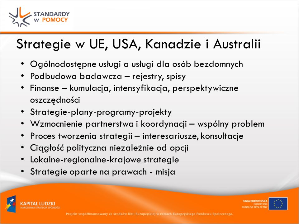 Strategie w UE, USA, Kanadzie i Australii