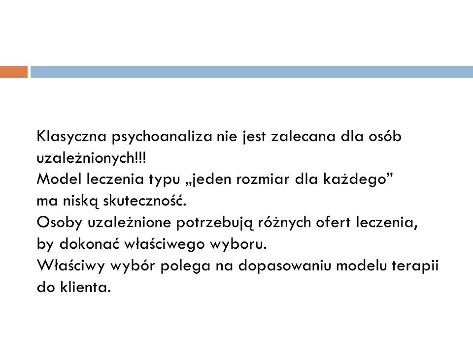 Klasyczna psychoanaliza nie jest zalecana dla osób uzależnionych
