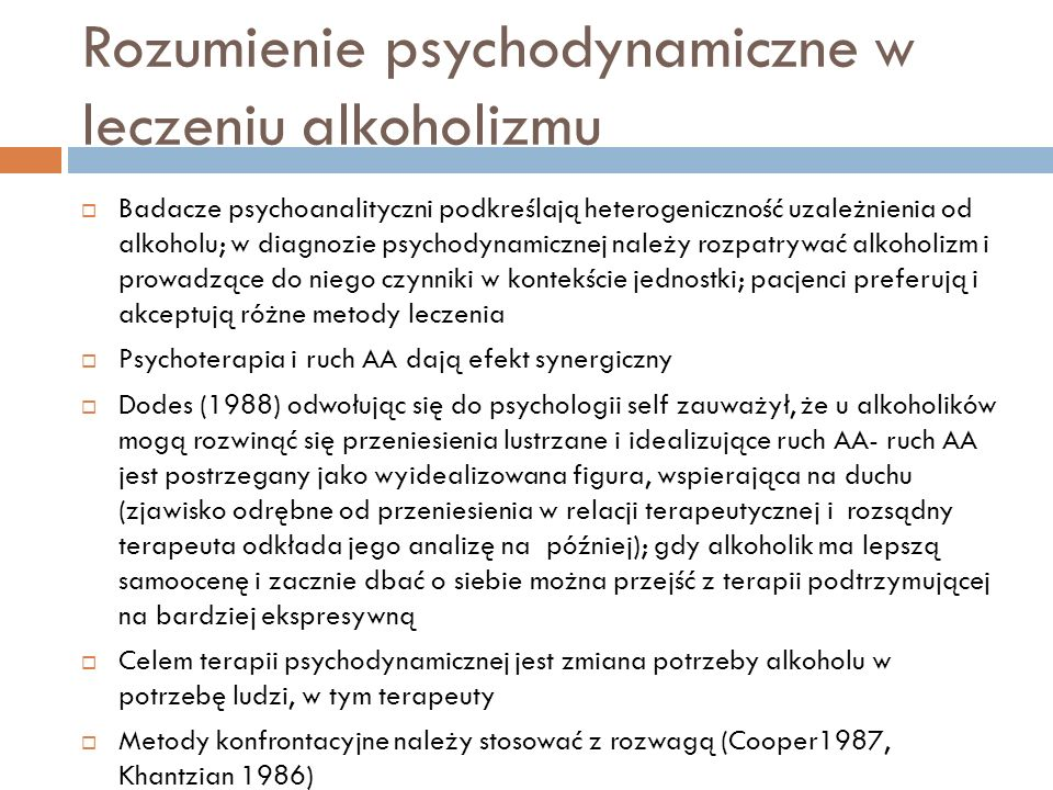 Rozumienie psychodynamiczne w leczeniu alkoholizmu