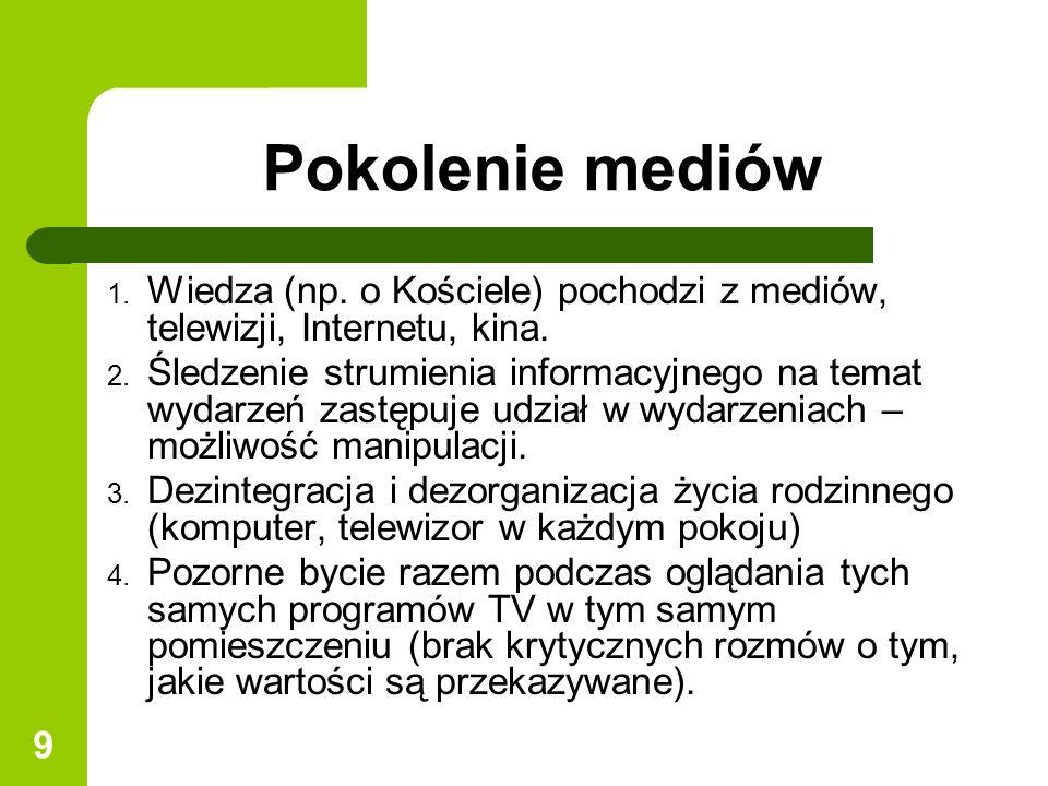 Pokolenie mediów Wiedza (np. o Kościele) pochodzi z mediów, telewizji, Internetu, kina.