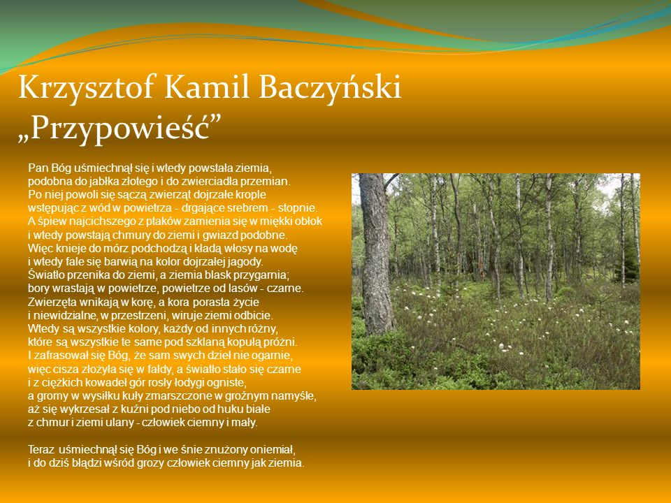 """Krzysztof Kamil Baczyński """"Przypowieść"""
