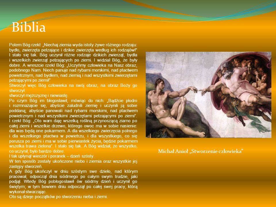 """Biblia Michał Anioł """"Stworzenie człowieka"""