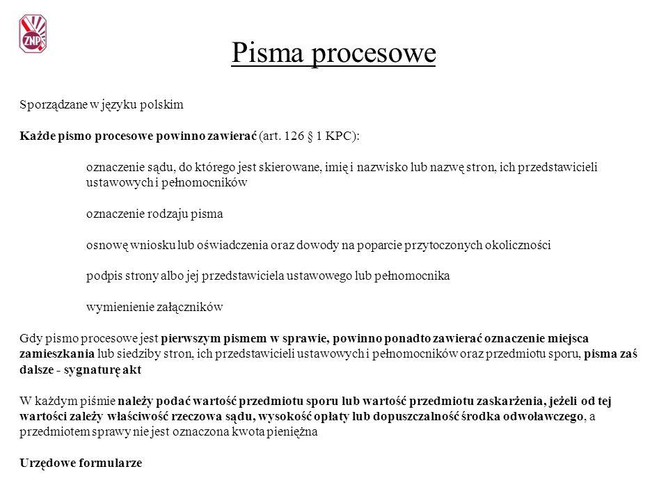 Pisma procesowe Sporządzane w języku polskim