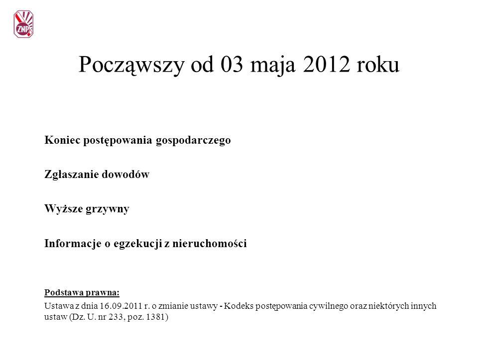 Począwszy od 03 maja 2012 roku Koniec postępowania gospodarczego