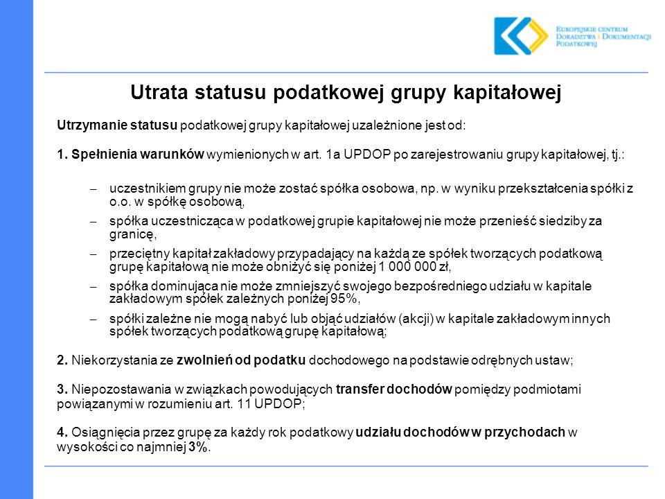 Utrata statusu podatkowej grupy kapitałowej