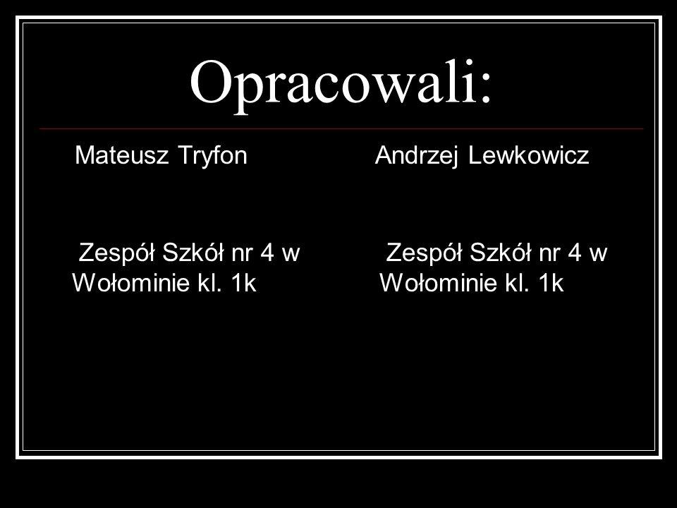 Opracowali: Mateusz Tryfon Zespół Szkół nr 4 w Wołominie kl. 1k