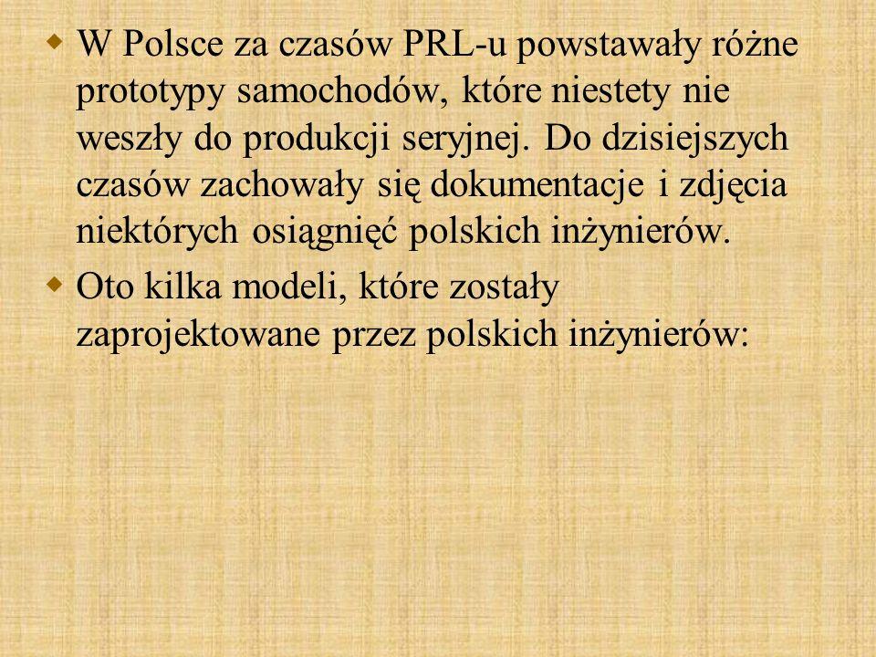 W Polsce za czasów PRL-u powstawały różne prototypy samochodów, które niestety nie weszły do produkcji seryjnej. Do dzisiejszych czasów zachowały się dokumentacje i zdjęcia niektórych osiągnięć polskich inżynierów.