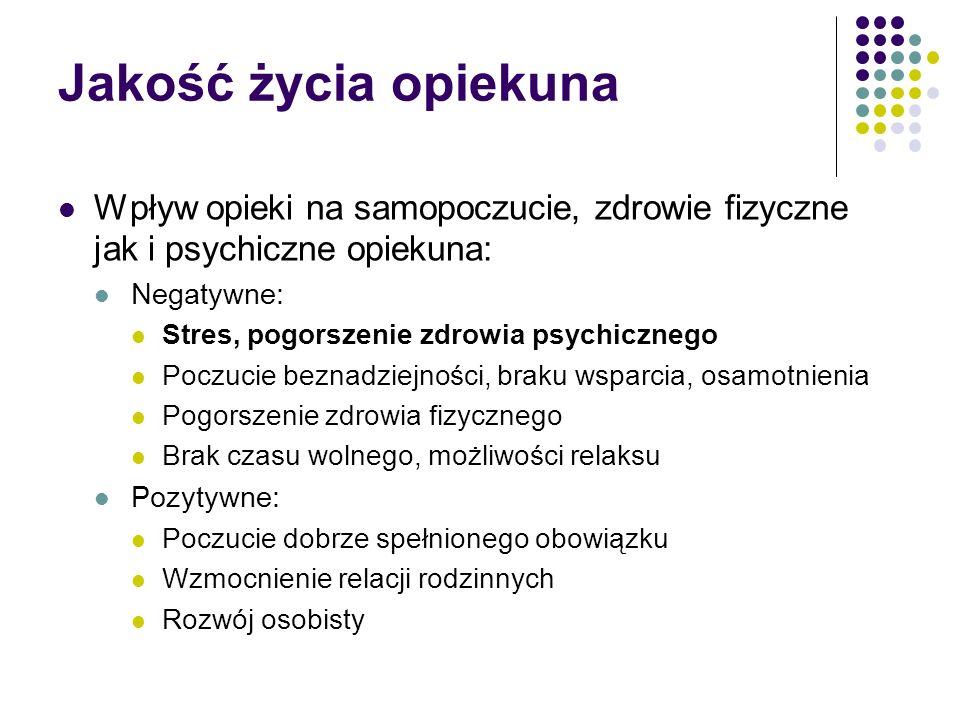 Jakość życia opiekuna Wpływ opieki na samopoczucie, zdrowie fizyczne jak i psychiczne opiekuna: Negatywne: