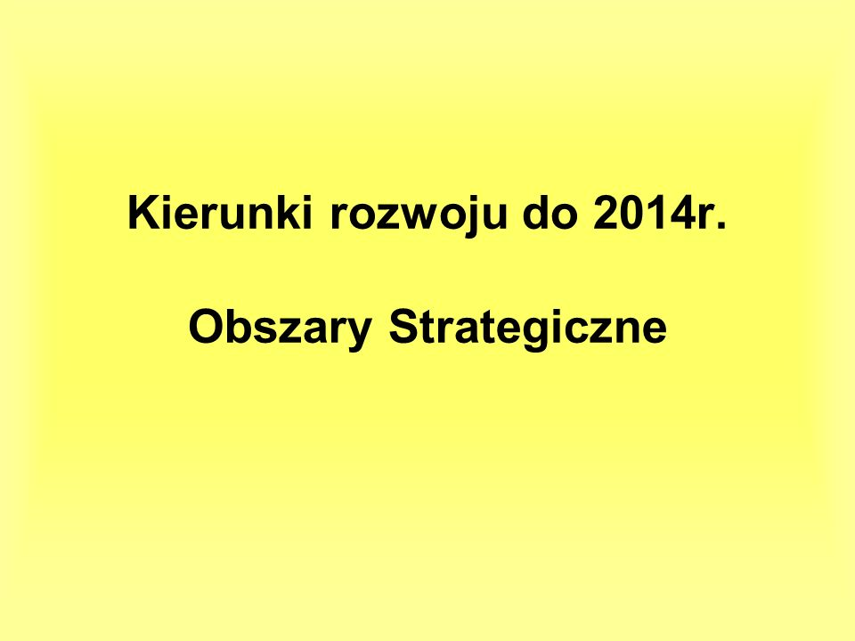 Kierunki rozwoju do 2014r. Obszary Strategiczne