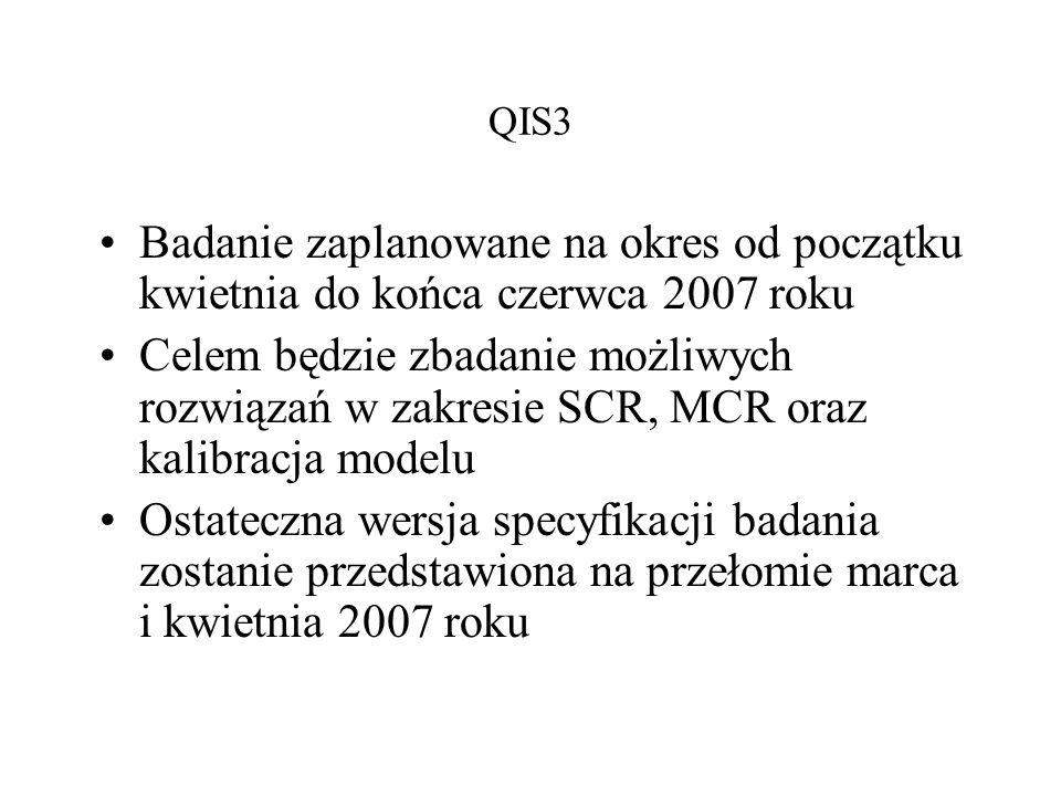 QIS3 Badanie zaplanowane na okres od początku kwietnia do końca czerwca 2007 roku.