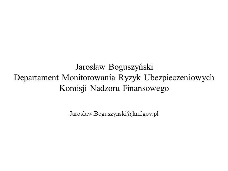 Jarosław Boguszyński Departament Monitorowania Ryzyk Ubezpieczeniowych Komisji Nadzoru Finansowego