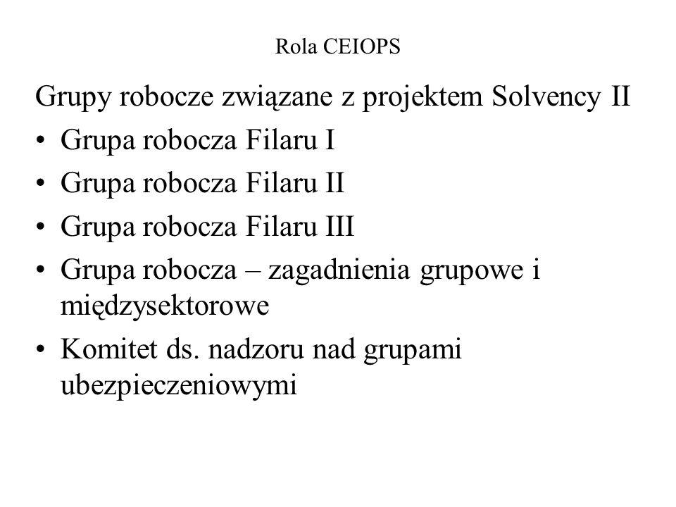 Grupy robocze związane z projektem Solvency II Grupa robocza Filaru I